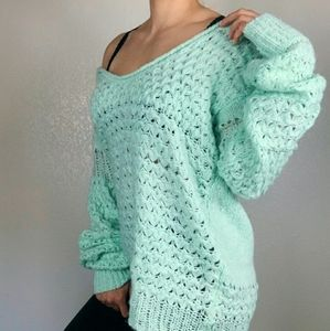 Free People Mint Oversized Pullover Sweater